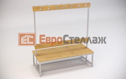 Двусторонняя скамейка для раздевалок со спинкой и крючками для одежды